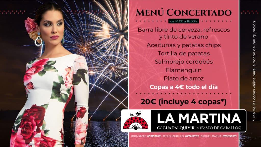 Feria De Córdoba Caseta LA MARTINA 2019 - MENÚS